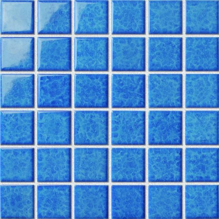 游泳池马赛克 厂家直销批发 蓝色釉面 海洋色 48x48mm