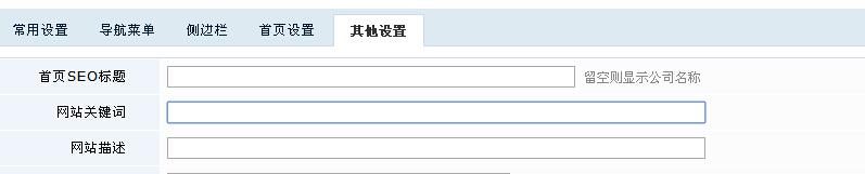 网站关键词设置。
