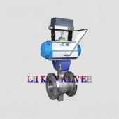 进口气动法兰V型球阀-智能调节气动V型球阀
