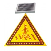 太阳能注意行人标志牌 三角形交通标志牌 led交通标志牌