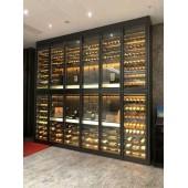 酒店会所KTV不锈钢红酒架 镜面黑钛恒温酒柜定制加工 拉丝玫瑰金